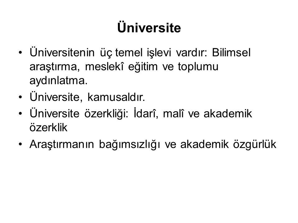 Üniversite Üniversitenin üç temel işlevi vardır: Bilimsel araştırma, meslekî eğitim ve toplumu aydınlatma.