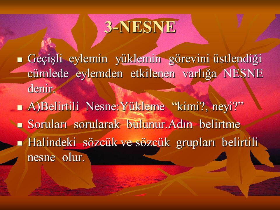 3-NESNE Geçişli eylemin yüklemin görevini üstlendiği cümlede eylemden etkilenen varlığa NESNE denir.