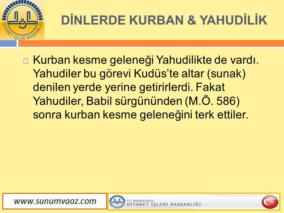 DİNLERDE KURBAN & YAHUDİLİK