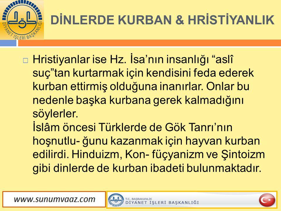 DİNLERDE KURBAN & HRİSTİYANLIK