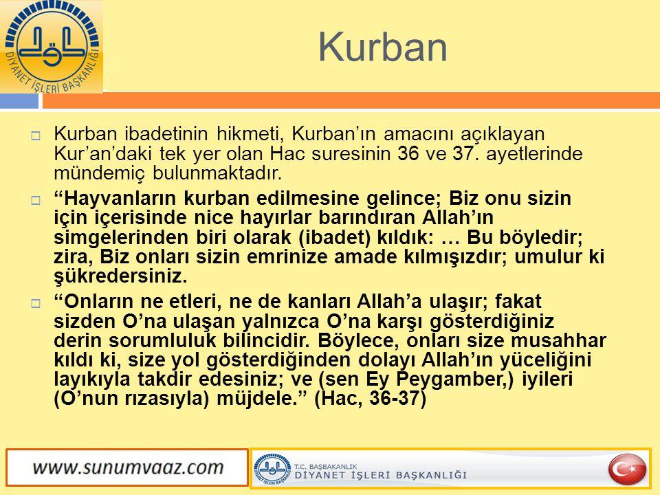 Kurban Kurban ibadetinin hikmeti, Kurban'ın amacını açıklayan Kur'an'daki tek yer olan Hac suresinin 36 ve 37. ayetlerinde mündemiç bulunmaktadır.