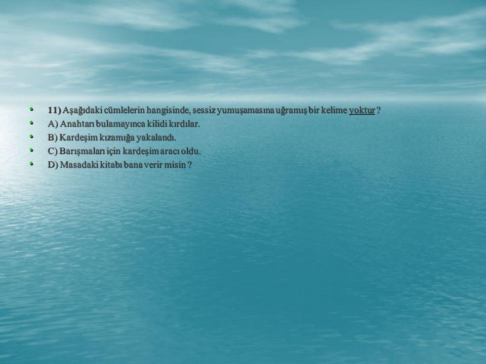 11) Aşağıdaki cümlelerin hangisinde, sessiz yumuşamasına uğramış bir kelime yoktur