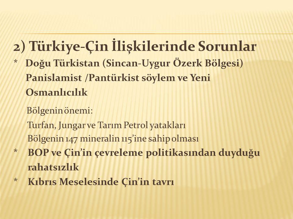 2) Türkiye-Çin İlişkilerinde Sorunlar