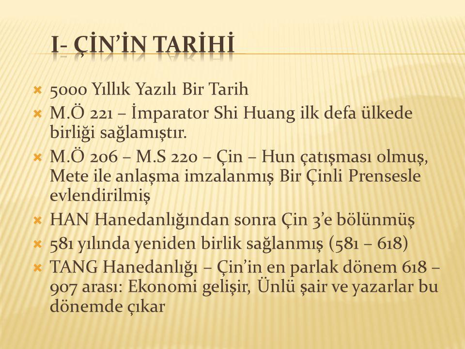I- çİn'İn tarİhİ 5000 Yıllık Yazılı Bir Tarih