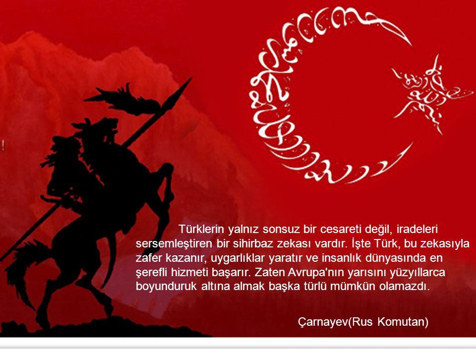 Türklerin yalnız sonsuz bir cesareti değil, iradeleri sersemleştiren bir sihirbaz zekası vardır. İşte Türk, bu zekasıyla zafer kazanır, uygarlıklar yaratır ve insanlık dünyasında en şerefli hizmeti başarır. Zaten Avrupa nın yarısını yüzyıllarca boyunduruk altına almak başka türlü mümkün olamazdı.
