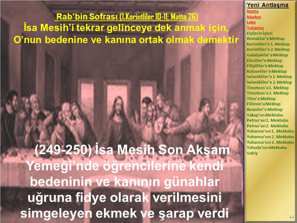 Rab'bin Sofrası (1.Korintliler 10-11; Matta 26)