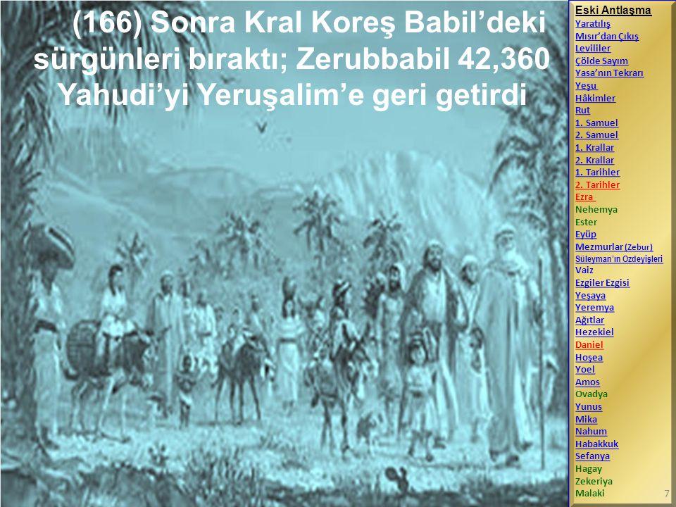 (166) Sonra Kral Koreş Babil'deki sürgünleri bıraktı; Zerubbabil 42,360 Yahudi'yi Yeruşalim'e geri getirdi