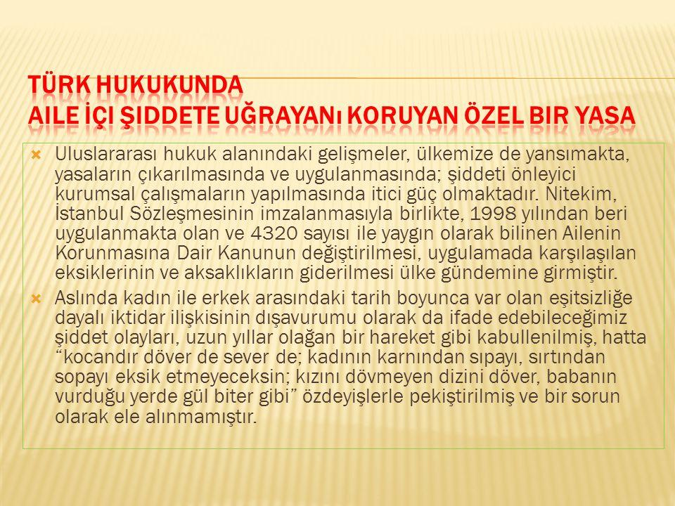 Türk Hukukunda Aile İçi Şiddete Uğrayanı Koruyan Özel Bir Yasa