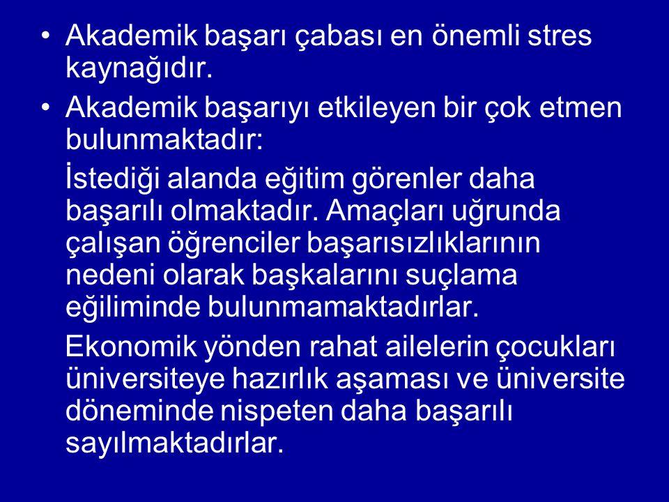 Akademik başarı çabası en önemli stres kaynağıdır.