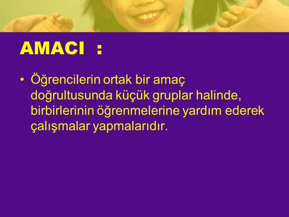 AMACI : Öğrencilerin ortak bir amaç doğrultusunda küçük gruplar halinde, birbirlerinin öğrenmelerine yardım ederek çalışmalar yapmalarıdır.