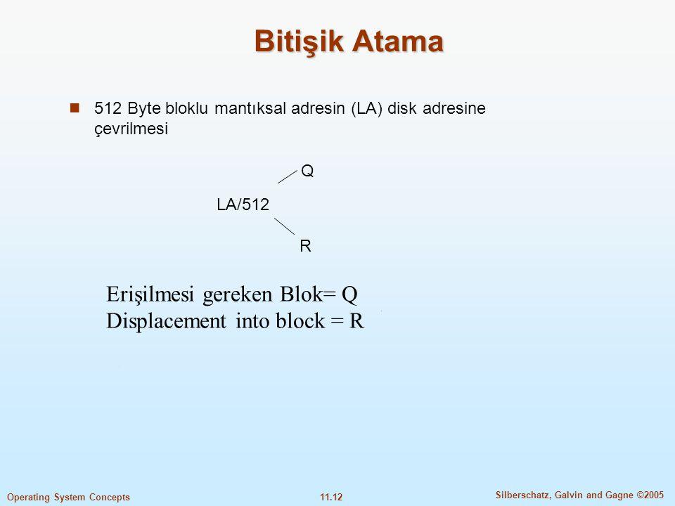 Bitişik Atama Erişilmesi gereken Blok= Q Displacement into block = R