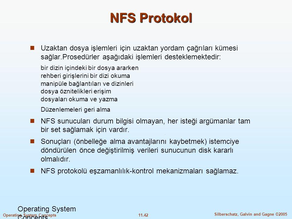NFS Protokol Uzaktan dosya işlemleri için uzaktan yordam çağrıları kümesi sağlar.Prosedürler aşağıdaki işlemleri desteklemektedir: