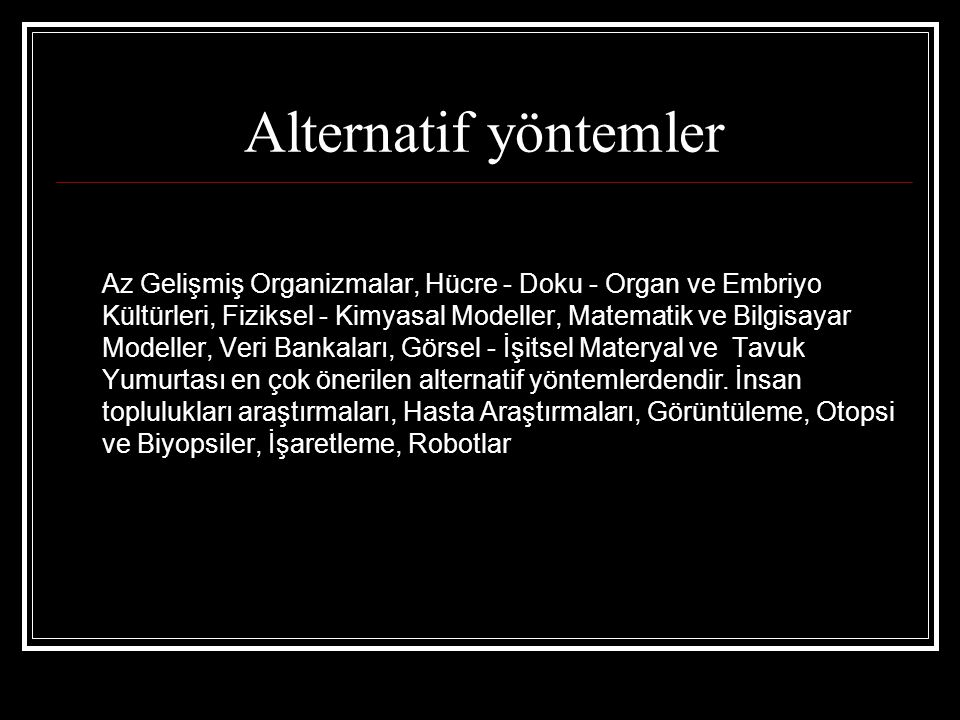 Alternatif yöntemler
