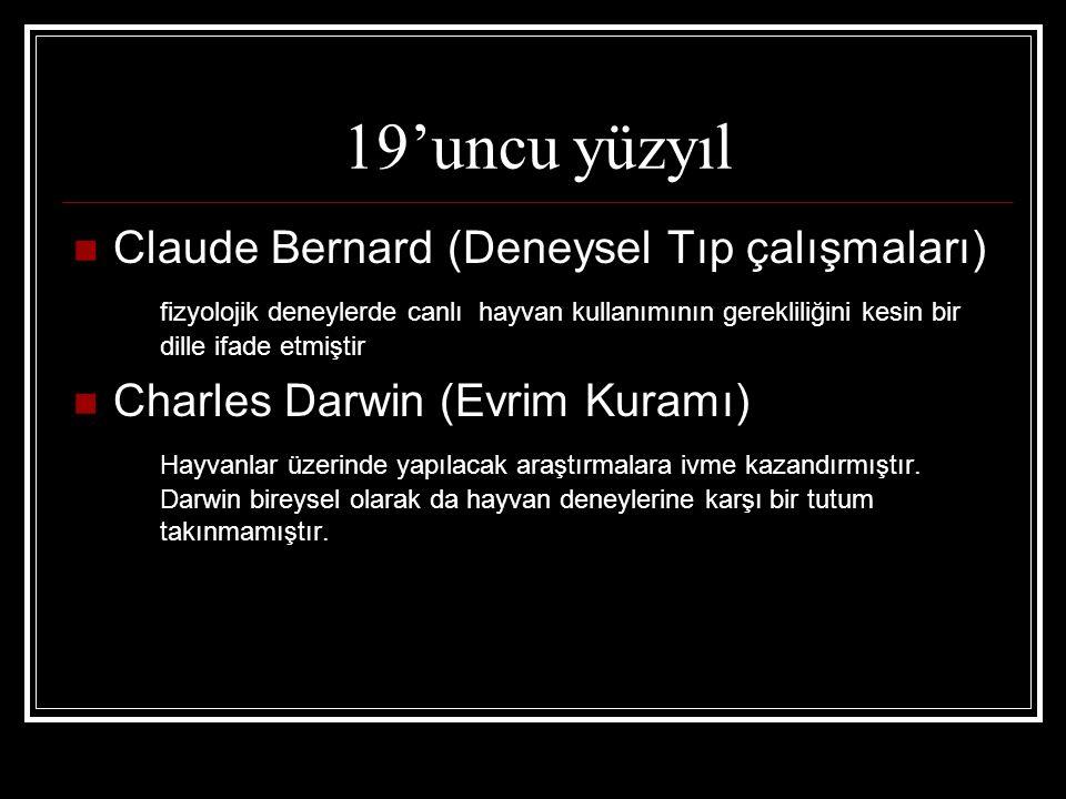 19'uncu yüzyıl Claude Bernard (Deneysel Tıp çalışmaları)