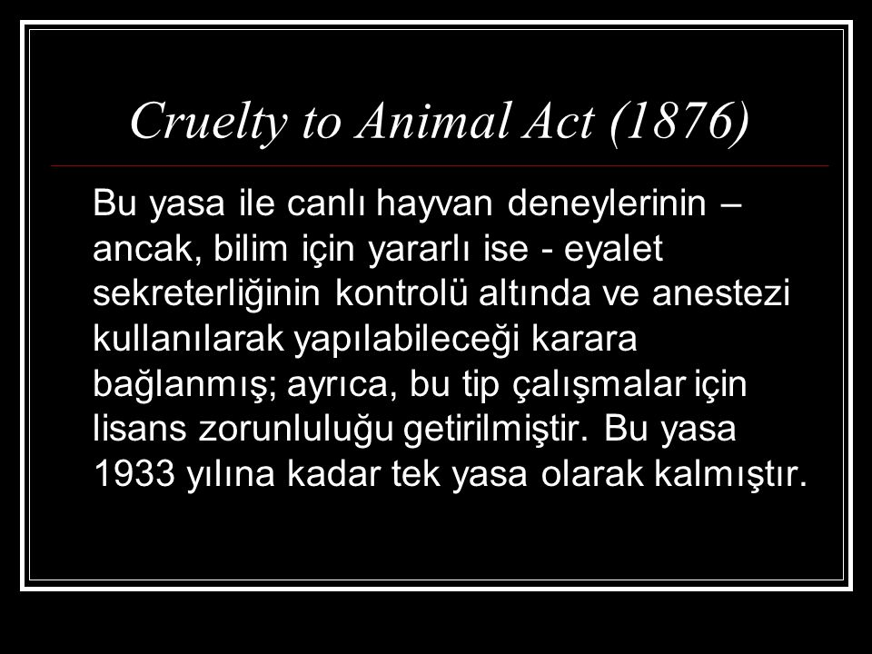 Cruelty to Animal Act (1876)