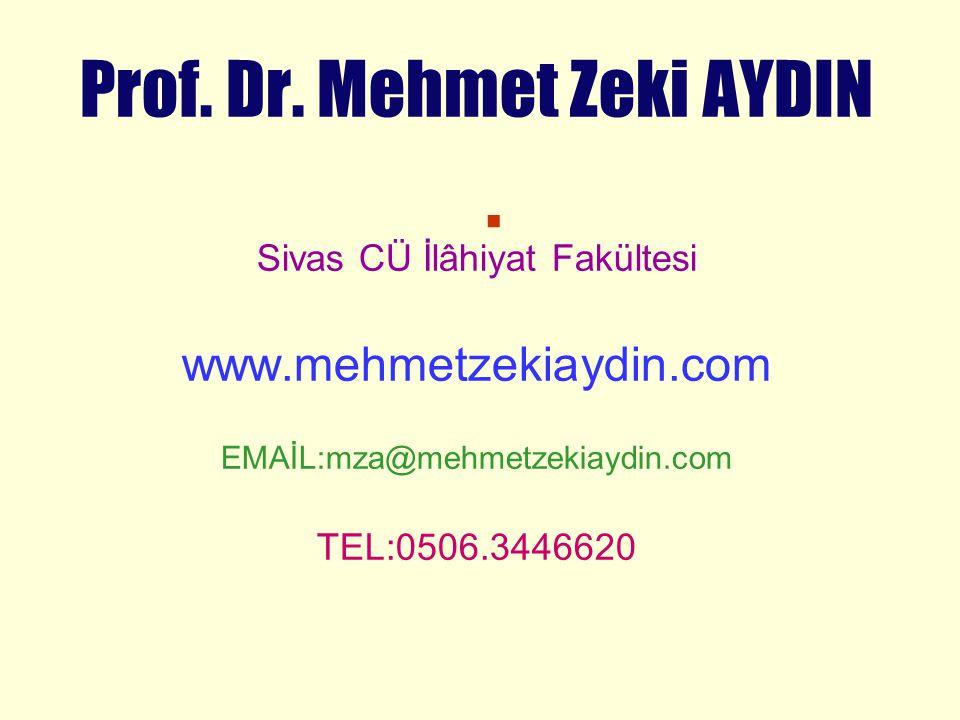 . www.mehmetzekiaydin.com Sivas CÜ İlâhiyat Fakültesi TEL:0506.3446620