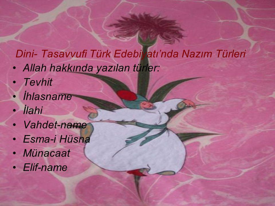 Dini- Tasavvufi Türk Edebiyatı'nda Nazım Türleri