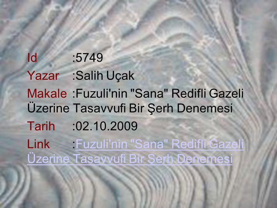 Id :5749 Yazar :Salih Uçak Makale :Fuzuli nin Sana Redifli Gazeli Üzerine Tasavvufi Bir Şerh Denemesi