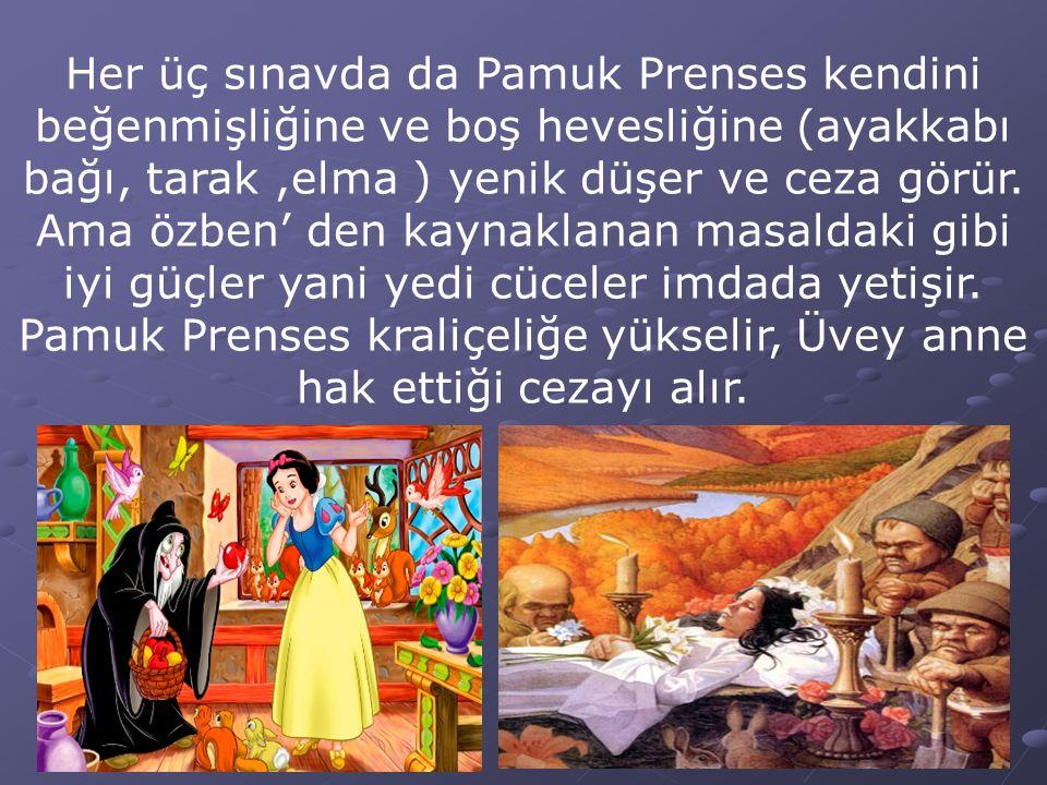 Her üç sınavda da Pamuk Prenses kendini beğenmişliğine ve boş hevesliğine (ayakkabı bağı, tarak ,elma ) yenik düşer ve ceza görür.