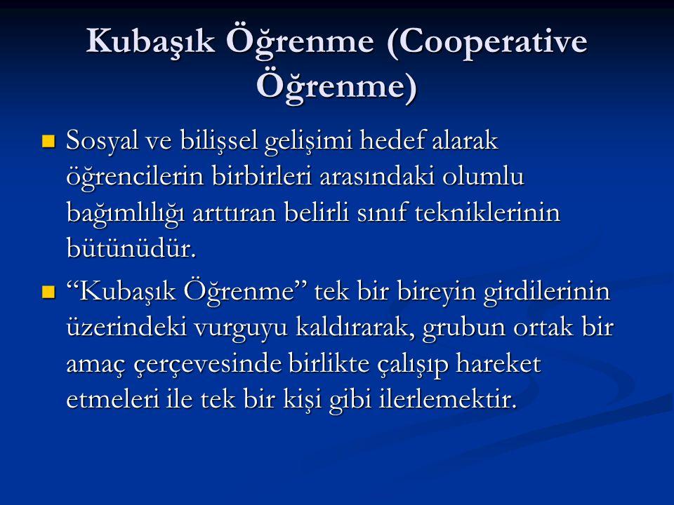 Kubaşık Öğrenme (Cooperative Öğrenme)