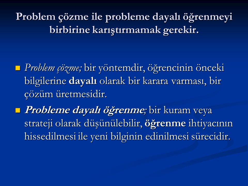 Problem çözme ile probleme dayalı öğrenmeyi birbirine karıştırmamak gerekir.