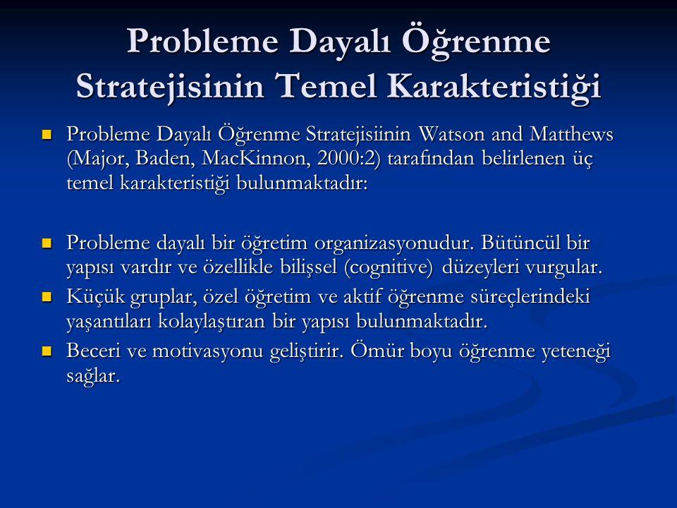 Probleme Dayalı Öğrenme Stratejisinin Temel Karakteristiği