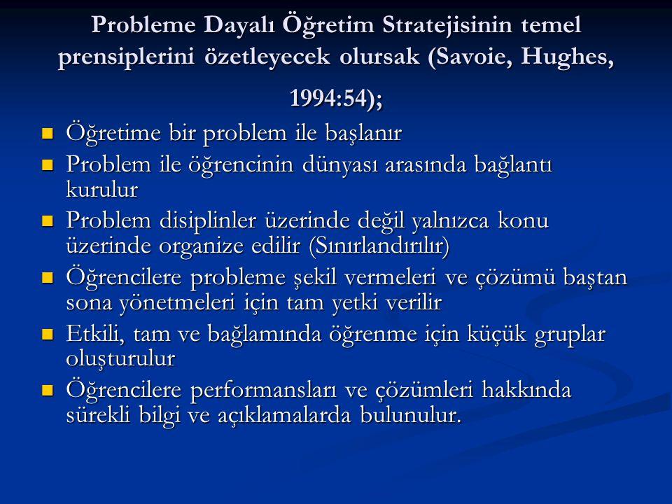 Probleme Dayalı Öğretim Stratejisinin temel prensiplerini özetleyecek olursak (Savoie, Hughes, 1994:54);