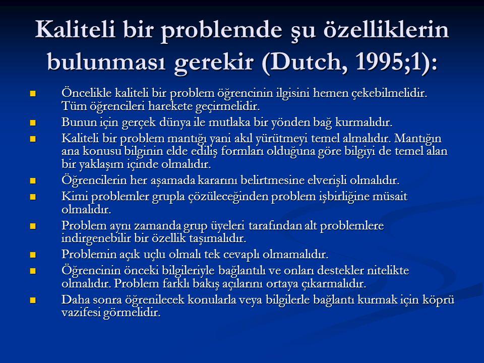 Kaliteli bir problemde şu özelliklerin bulunması gerekir (Dutch, 1995;1):