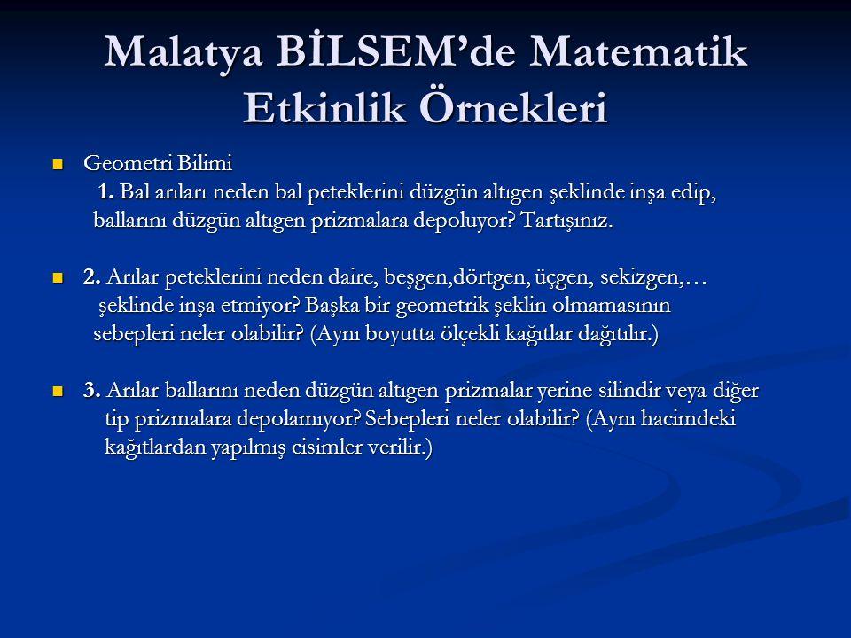 Malatya BİLSEM'de Matematik Etkinlik Örnekleri