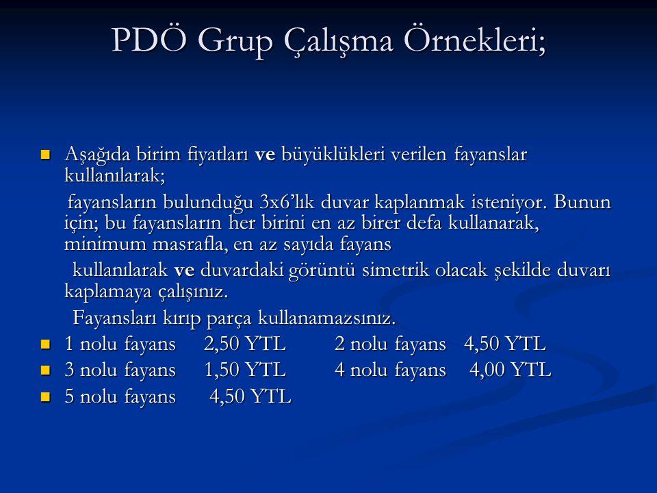 PDÖ Grup Çalışma Örnekleri;
