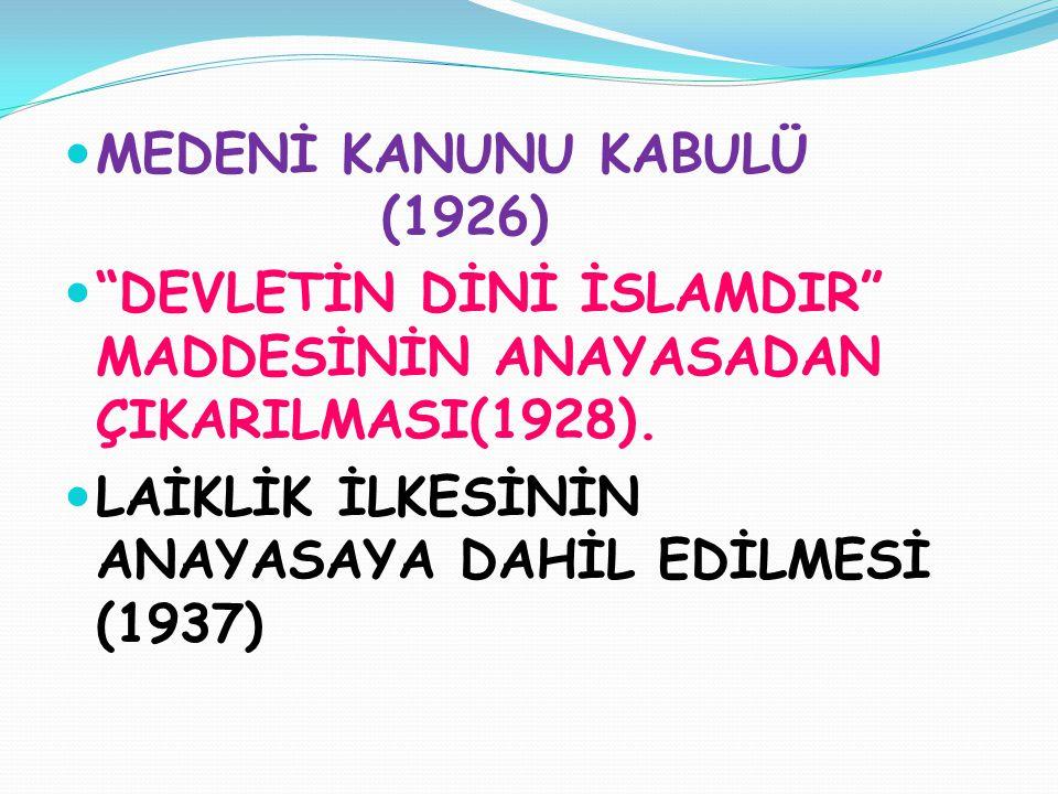 MEDENİ KANUNU KABULÜ (1926)