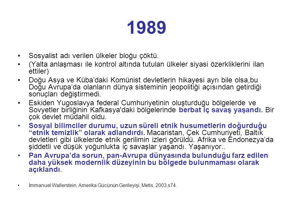 1989 Sosyalist adı verilen ülkeler bloğu çöktü.