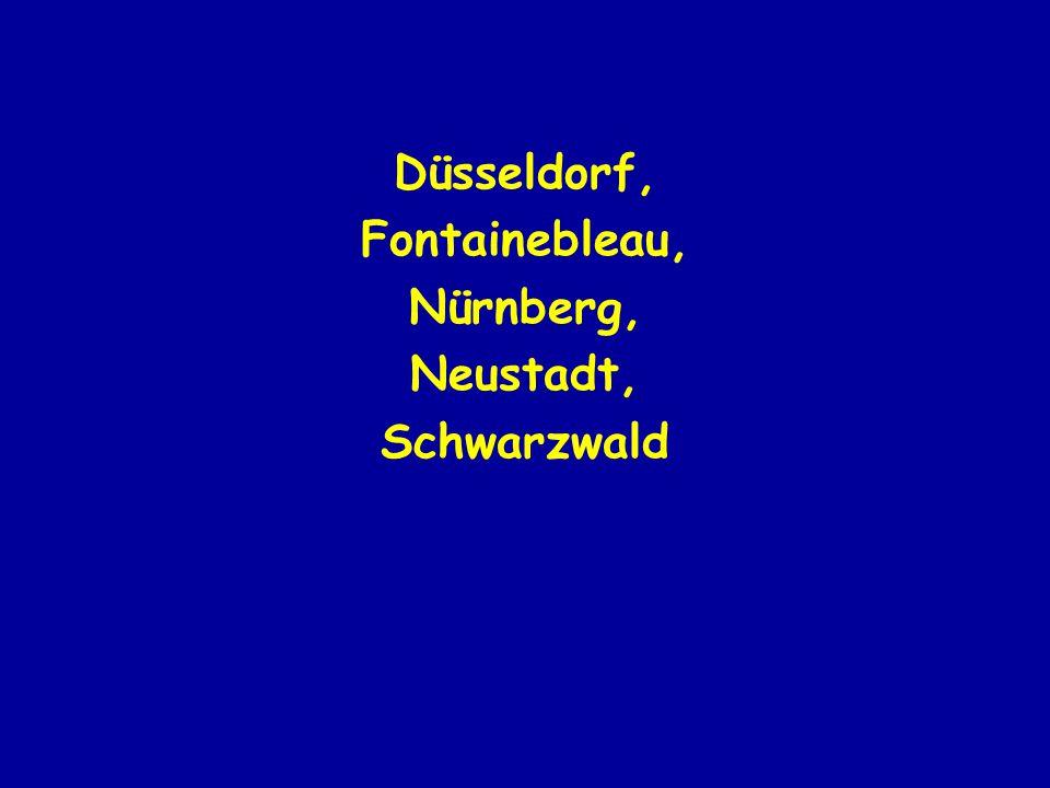 Düsseldorf, Fontainebleau, Nürnberg, Neustadt, Schwarzwald