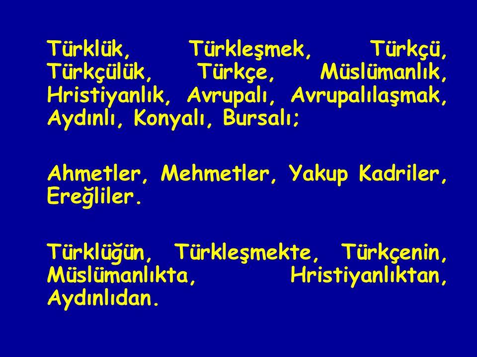 Türklük, Türkleşmek, Türkçü, Türkçülük, Türkçe, Müslümanlık, Hristiyanlık, Avrupalı, Avrupalılaşmak, Aydınlı, Konyalı, Bursalı;