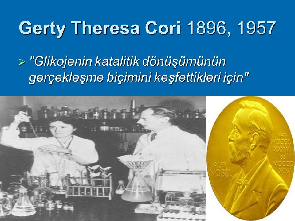 Gerty Theresa Cori 1896, 1957 Glikojenin katalitik dönüşümünün gerçekleşme biçimini keşfettikleri için