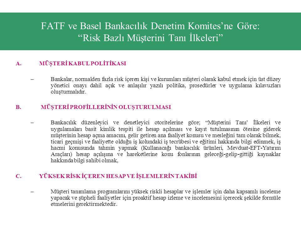 FATF ve Basel Bankacılık Denetim Komites'ne Göre: Risk Bazlı Müşterini Tanı İlkeleri
