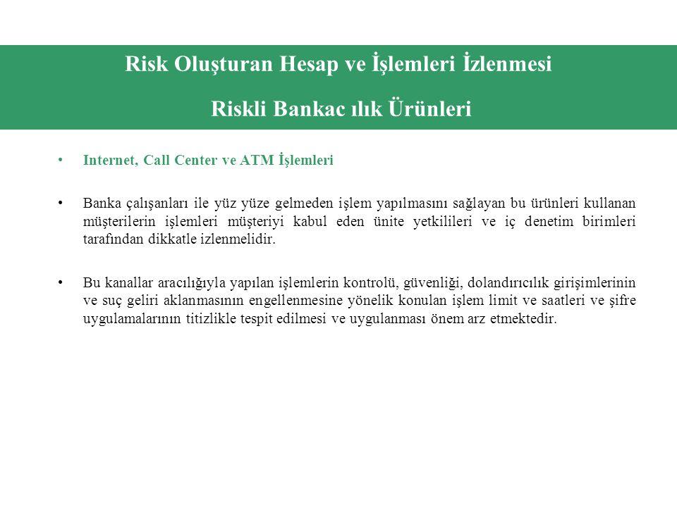 Risk Oluşturan Hesap ve İşlemleri İzlenmesi Riskli Bankac ılık Ürünleri