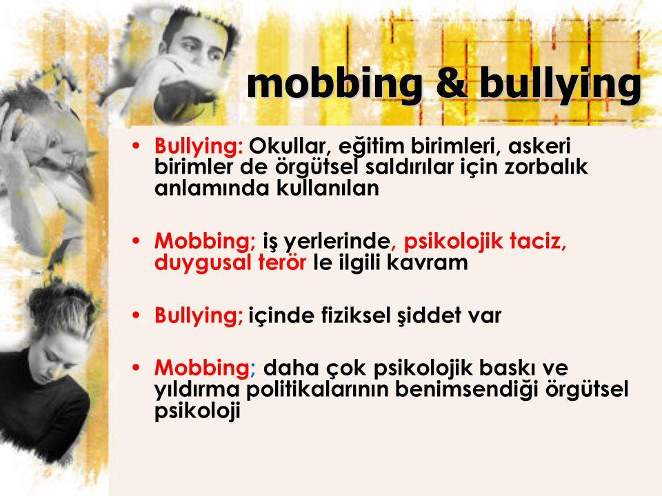 mobbing & bullying Bullying: Okullar, eğitim birimleri, askeri birimler de örgütsel saldırılar için zorbalık anlamında kullanılan.