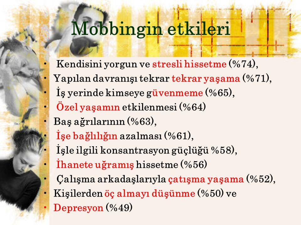 Mobbingin etkileri Kendisini yorgun ve stresli hissetme (%74),