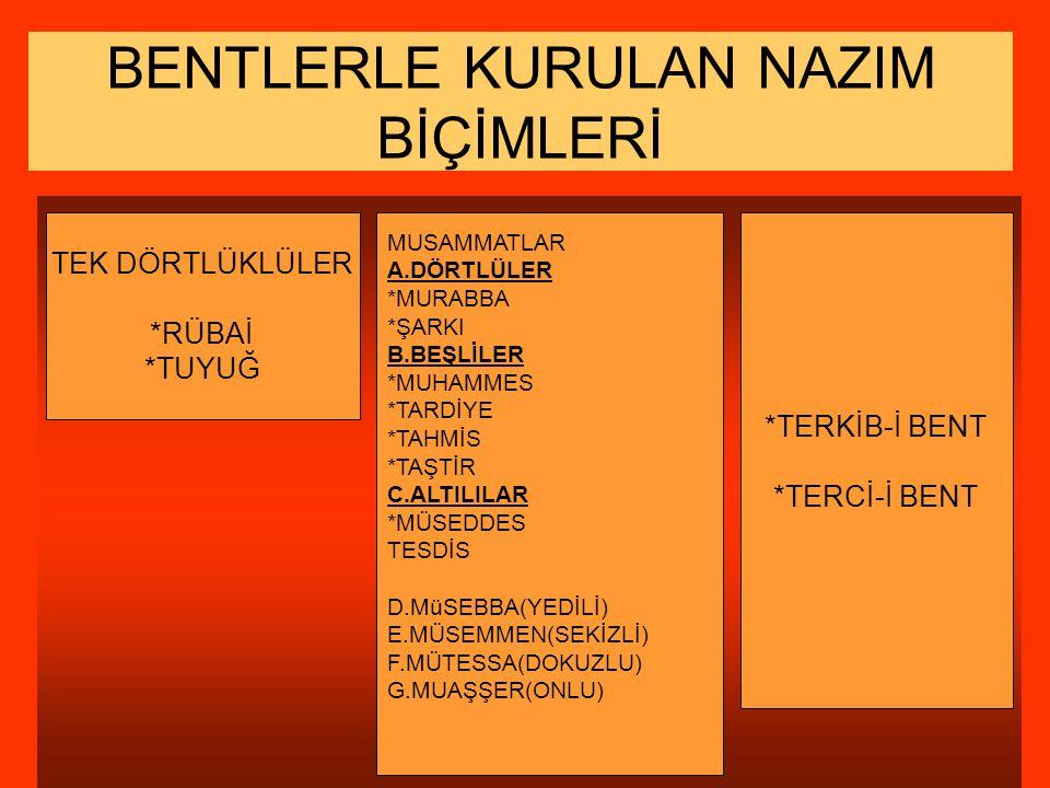BENTLERLE KURULAN NAZIM BİÇİMLERİ