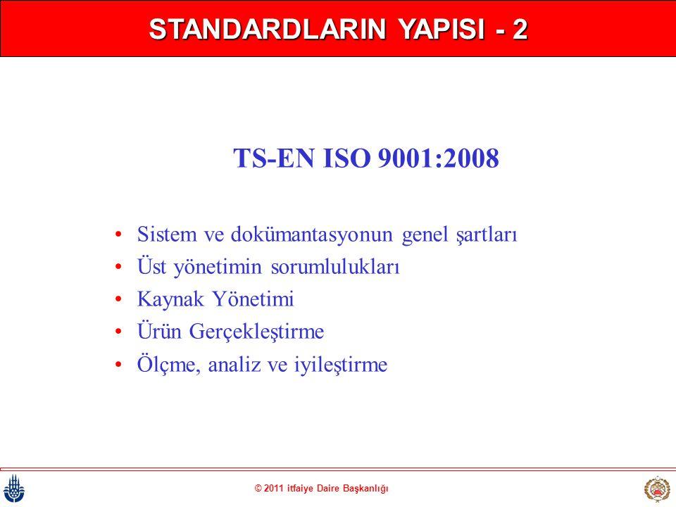 STANDARDLARIN YAPISI - 2 © 2011 itfaiye Daire Başkanlığı