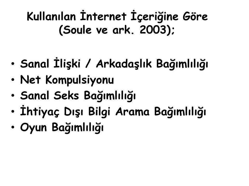 Kullanılan İnternet İçeriğine Göre (Soule ve ark. 2003);
