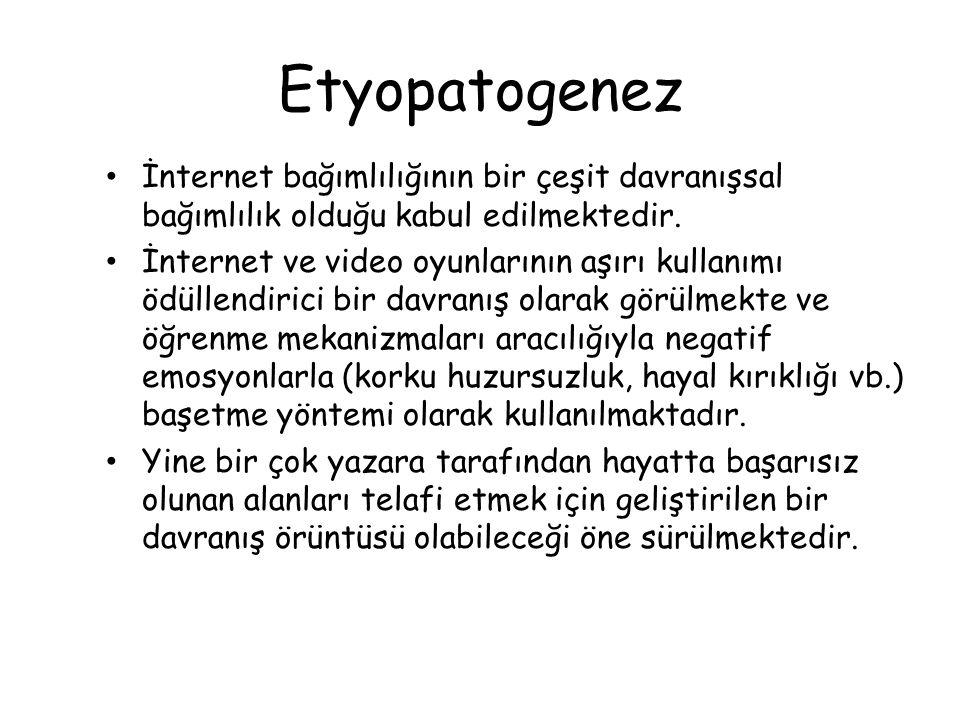 Etyopatogenez İnternet bağımlılığının bir çeşit davranışsal bağımlılık olduğu kabul edilmektedir.