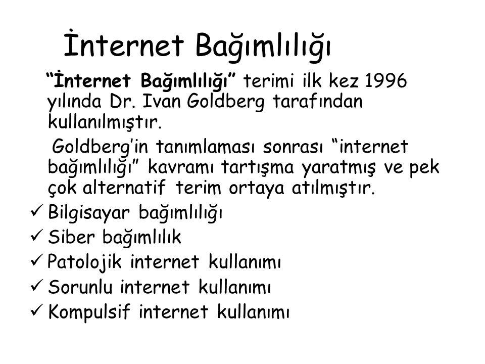 İnternet Bağımlılığı İnternet Bağımlılığı terimi ilk kez 1996 yılında Dr. Ivan Goldberg tarafından kullanılmıştır.