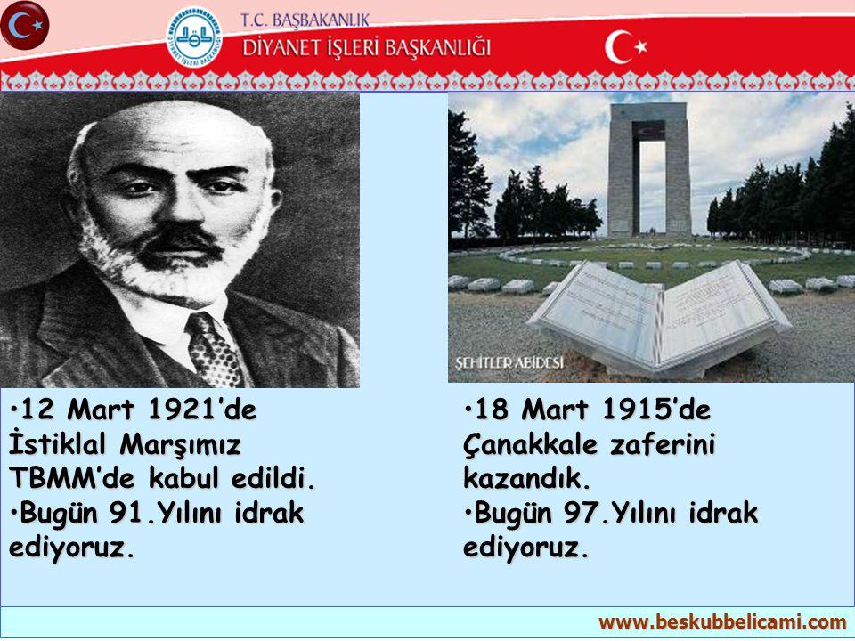 12 Mart 1921'de İstiklal Marşımız TBMM'de kabul edildi.