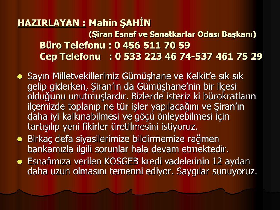 HAZIRLAYAN : Mahin ŞAHİN (Şiran Esnaf ve Sanatkarlar Odası Başkanı) Büro Telefonu : 0 456 511 70 59 Cep Telefonu : 0 533 223 46 74-537 461 75 29
