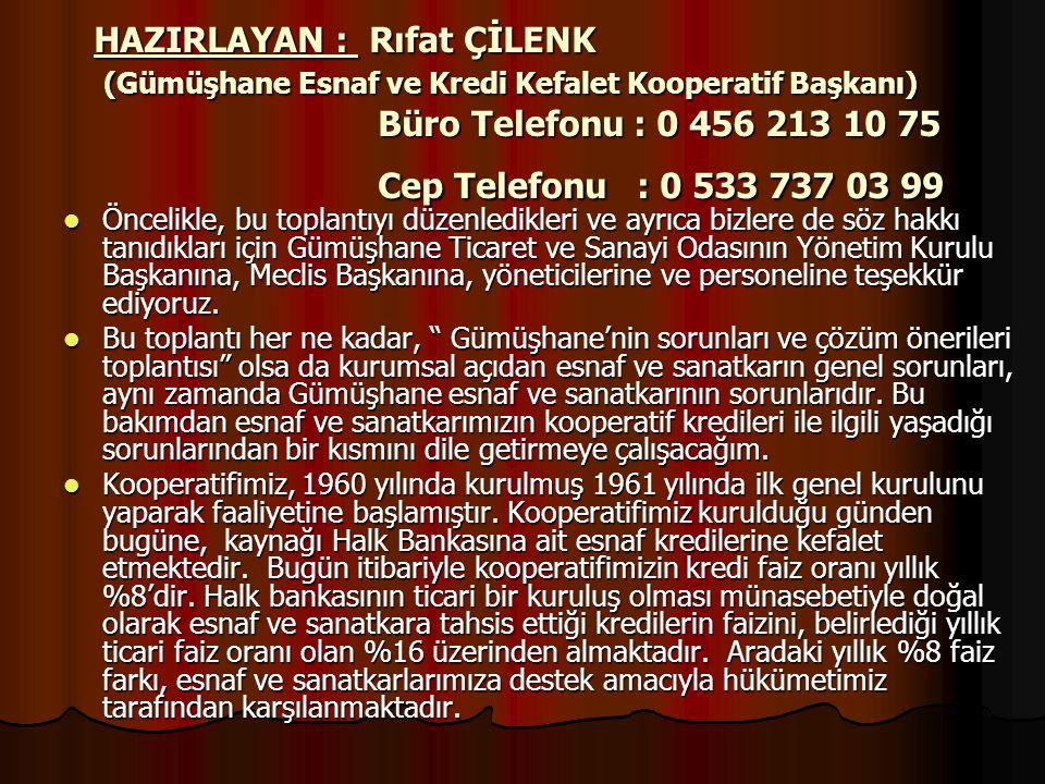 HAZIRLAYAN : Rıfat ÇİLENK (Gümüşhane Esnaf ve Kredi Kefalet Kooperatif Başkanı) Büro Telefonu : 0 456 213 10 75 Cep Telefonu : 0 533 737 03 99