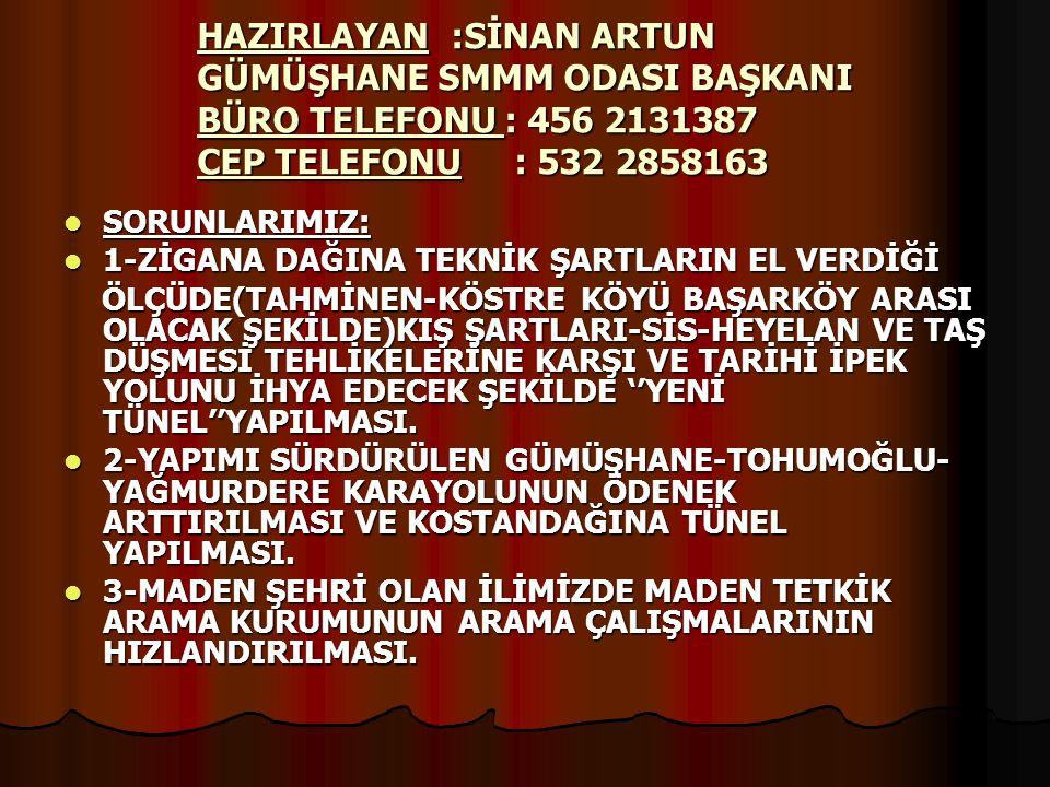 HAZIRLAYAN :SİNAN ARTUN GÜMÜŞHANE SMMM ODASI BAŞKANI BÜRO TELEFONU : 456 2131387 CEP TELEFONU : 532 2858163