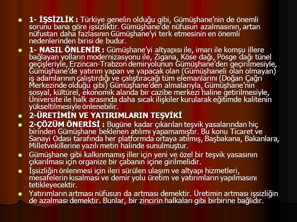 1- İŞSİZLİK : Türkiye genelin olduğu gibi, Gümüşhane'nin de önemli sorunu bana göre işsizliktir. Gümüşhane'de nüfusun azalmasının, artan nüfustan daha fazlasının Gümüşhane'yi terk etmesinin en önemli nedenlerinden birisi de budur.