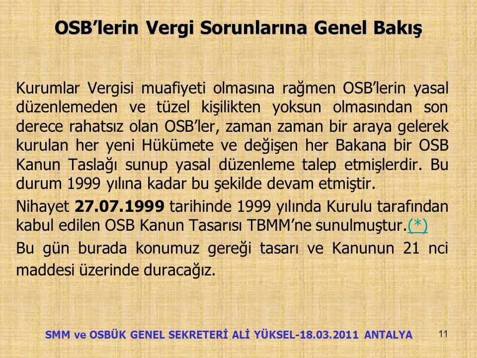 OSB'lerin Vergi Sorunlarına Genel Bakış